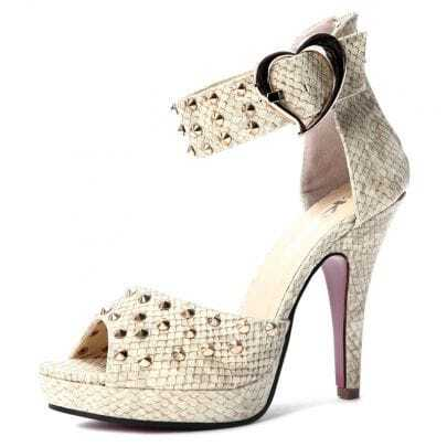 Beige PU Studded 120mm Sandals