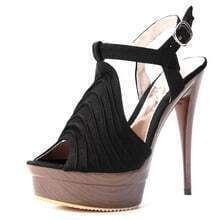 Black Pleated 145mm Sandals