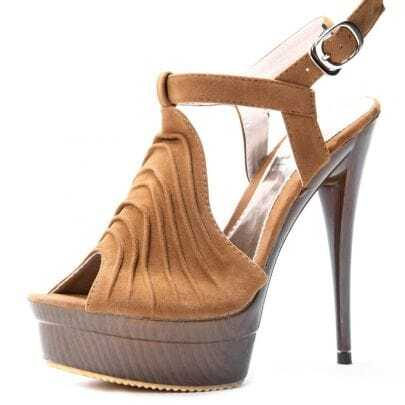 Brown Pleated 145mm Sandals