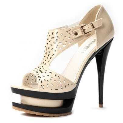 Beige Patent Leather Eyelet 140mm Sandals
