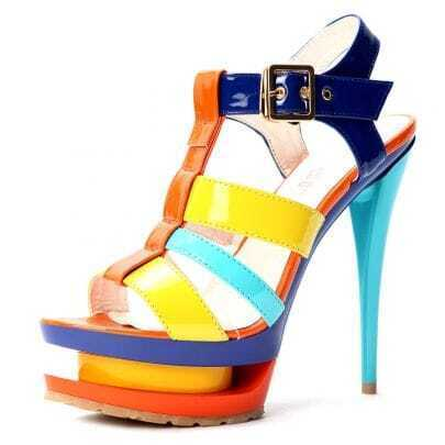 Blue Patent Leather Belt Buckle 145mm Sandals