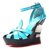 Blue Patent Leather Heel With Metal 130mm Wedges
