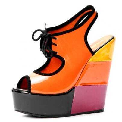 Orange Patent Leather Lace Up 150mm Wedges