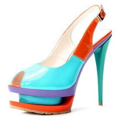 Blue Patent Leather 140mm Sandals
