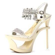 Beige Rhinestone 155mm Sandals