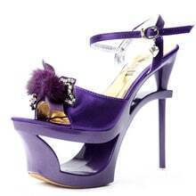 Beading Bow Purple 155mm Sandals