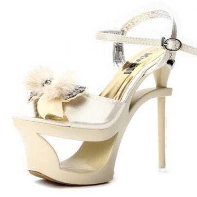 Beading Bow Golden 155mm Sandals