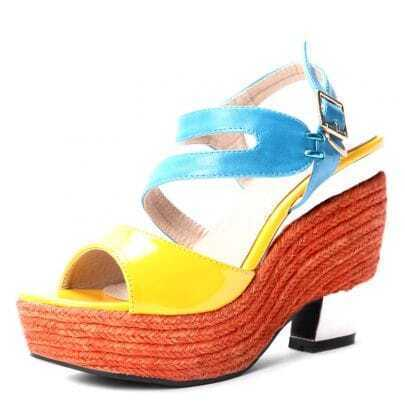 Yellow Blue PU And Patent Leather 120mm Wedges