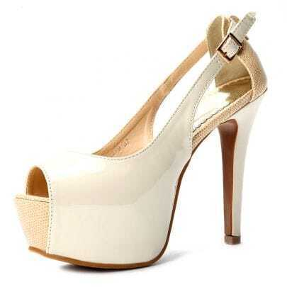 Beige Patent Leather 125mm Sandals