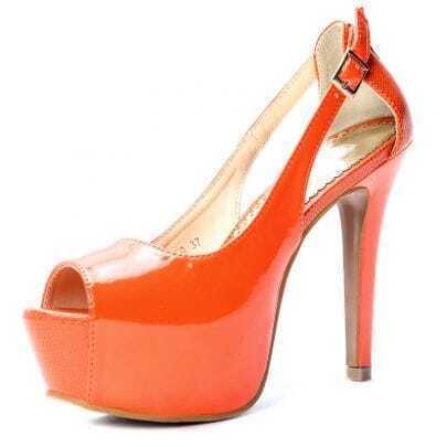Orange Patent Leather 125mm Sandals