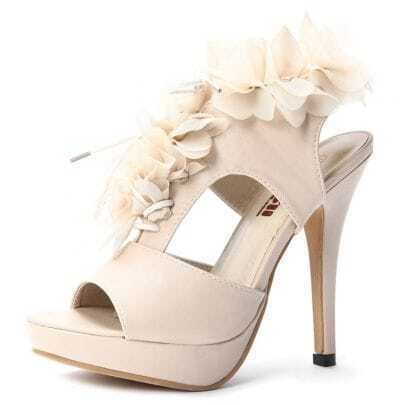 Beige PU Flowers 130mm Sandals
