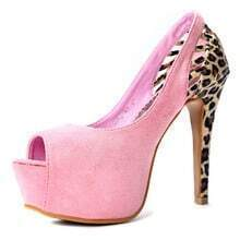 Pink Woolen Hollow Leopard 130mm Pumps