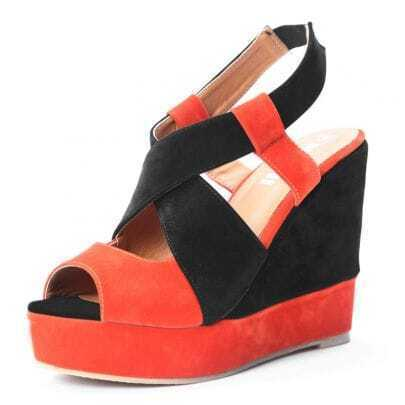 Orange Black Pin Up Woolen 120mm Wedges