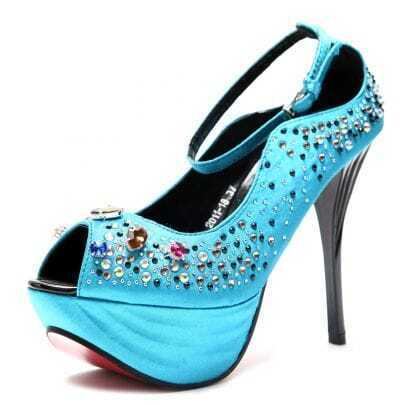 Blue Jewelled 125mm Sandals