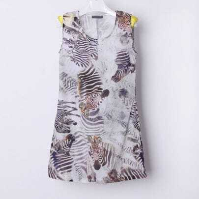 Yellow Colord Texture Zebra Shoulder Pad Sleeveless T-shirt