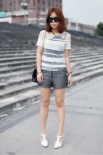 Vintage White Gauze Striped Round Neck Short Sleeve T Shirt