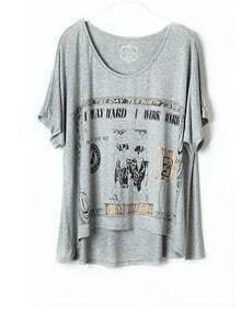 Grey Abstract Print Short Sleeve Dipped Hem T Shirt