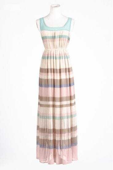 Pink Scoop Neck Sleeveless Stripe Full-Length Dress