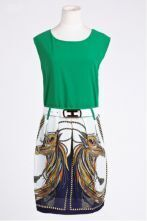 Green Round Neck Chiffon Sleeveless Mid Waist Zipper Dress