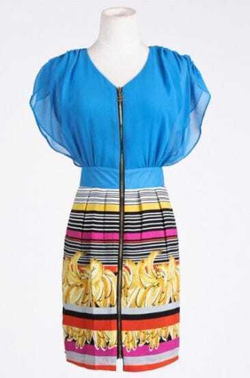 Blue Color Block V Neck Short Sleeve Mid Waist Above Knee Dress