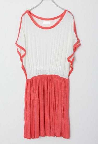 Red Round Neck Elastic Waist Pleated Off the Shoulder Dress