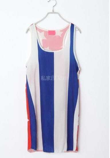 Blue Round Neck Star Broken Stripe Chiffon Dress