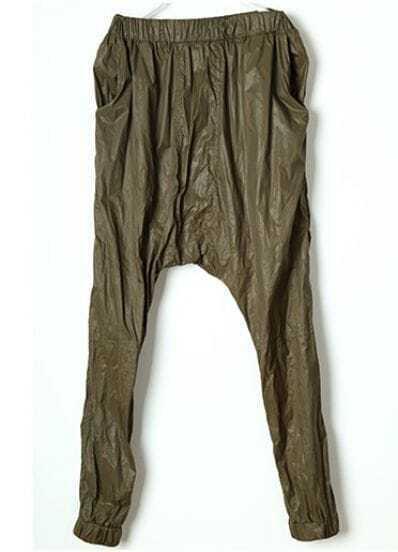 Green Vintage Loose High Waist Pants