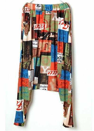 Vintage Loose Newspaper Print Color Block Pants