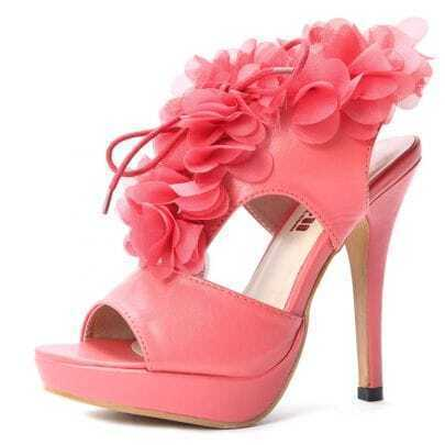 Red PU Flowers 130mm Sandals