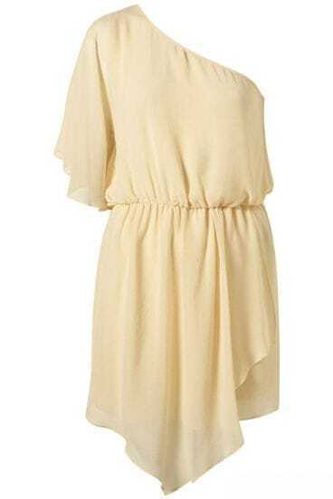 White Solid Asymmetrical Off One Shoulder Dress