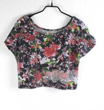 Black Camellia Floral Batwing Sleeve Crop Blouse