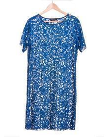 Blue Solid Pleated Lace Round Neck Short Sleeve Mid Waist Dress