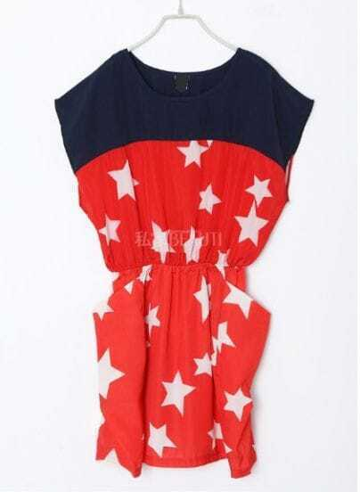Red Star Color Block Batwing Sleeve Street Dress