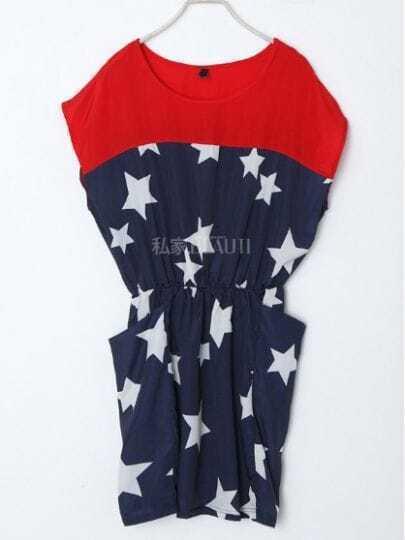 Dark Blue Star Color Block Batwing Sleeve Street Dress