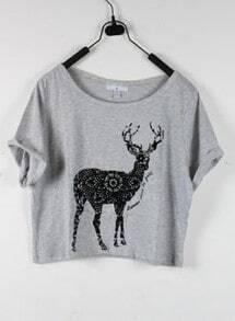 Deer Grey Round Neck Short Sleeve Crop T Shirt