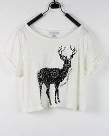 Deer White Round Neck Short Sleeve Crop T Shirt