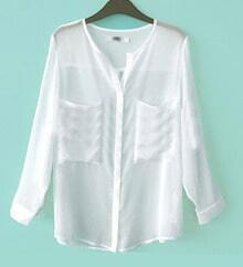 White V Neck Roll Long Sleeve Two Pockets Chiffon Blouse