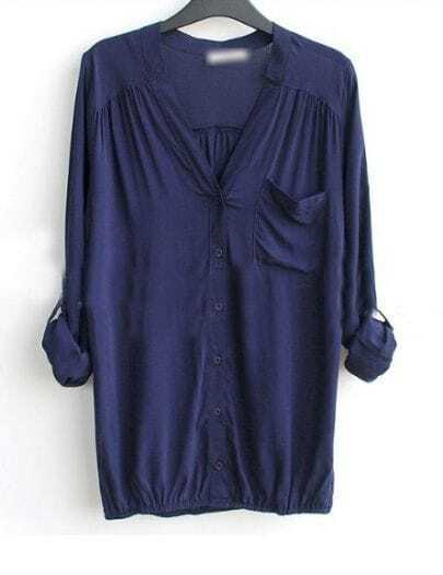 Navy V-neck Long Sleeve Pocket Elastic-Hem Blouse