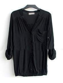 Black V-neck Long Sleeve Pocket Elastic-Hem Blouse