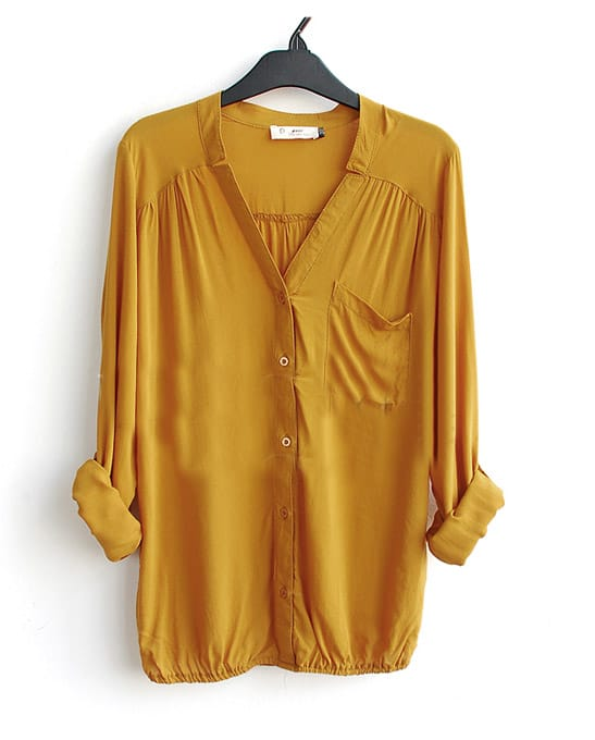 Yellow V-neck Long Sleeve Pocket Elastic-Hem Blouse -SheIn(Sheinside)