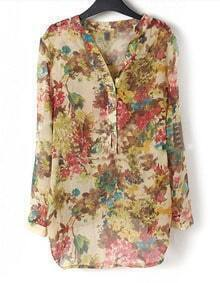 Ink Floral V-neck Placket Long Sleeve Chiffon Blouse