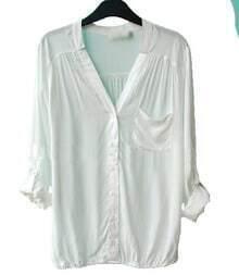 White V-neck Long Sleeve Pocket Elastic-Hem Blouse