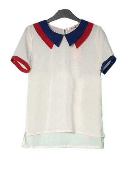 White Double Layer Collar Short Sleeve Dipped Hem Chiffon Blouse