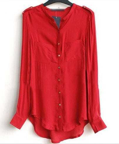 Red Band Collar Pockets Long Sleeve Curved Hem Shirt