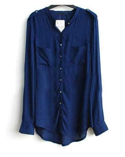 Dark Blue Band Collar Pockets Long Sleeve Curved Hem Shirt