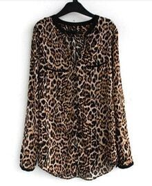 Brown Leopard V-neck Placket Long Sleeve Chiffon Blouse