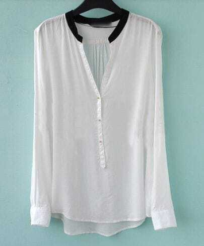 White V-neck Placket Long Sleeve Sheer Blouse