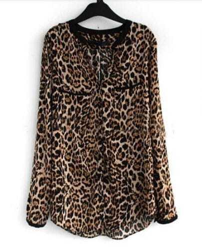 Brown Leopard V-neck Placket Long Sleeve Chiffon Blouse