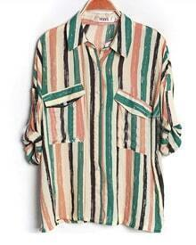 Green Striped Lapel Bat Sleeve Loose Blouse
