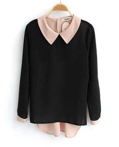 Black Long Sleeve Contrast Collar and Button Back Blouse